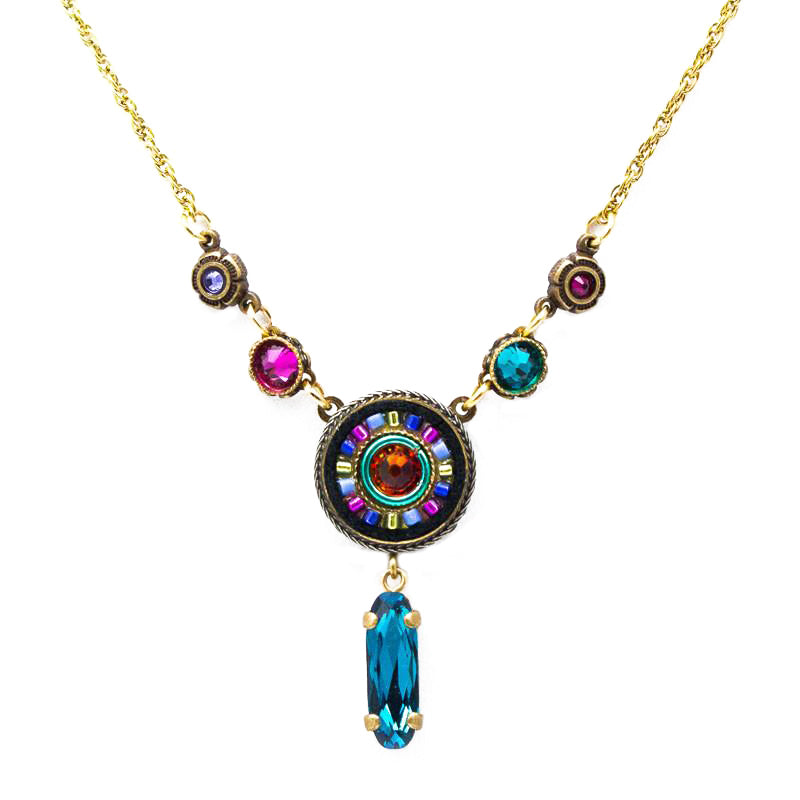 Multi Color Gold La Dolce Vita Circle with Y Drop Necklace by Firefly Jewelry