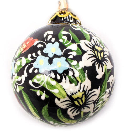 Country Flowers Small Bulb Ceramic Ornament