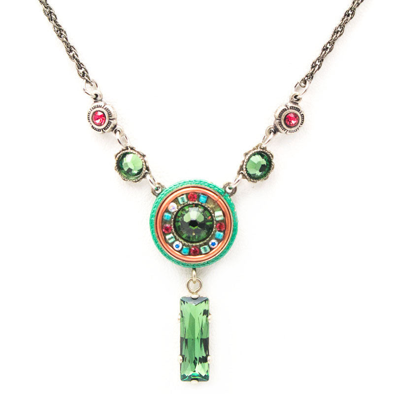 Erinite La Dolce Vita Circle with Drop Necklace by Firefly Jewelry
