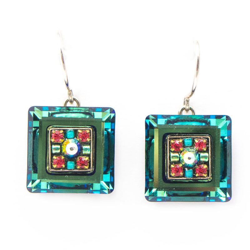 Erinite La Dolce Vita Crystal Square Earrings by Firefly Jewelry