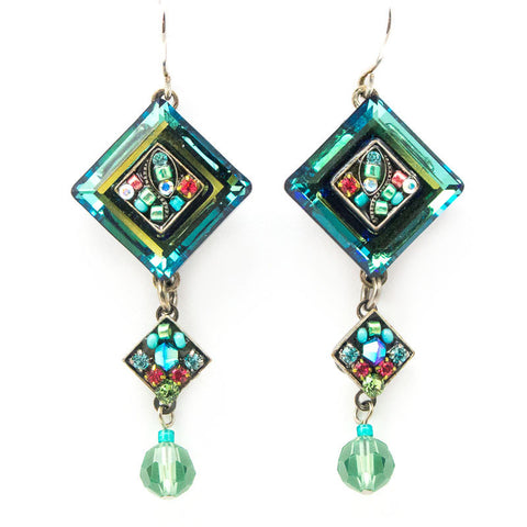 Erinite La Dolce Vita Crystal Diagonal Earrings with Dangle by Firefly Jewelry