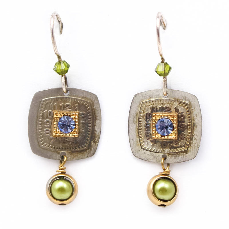 Green Square Dance Earrings by Wanna Buy A Watch?