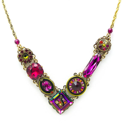 Ruby La Dolce Vita Crystal V Necklace by Firefly Jewelry