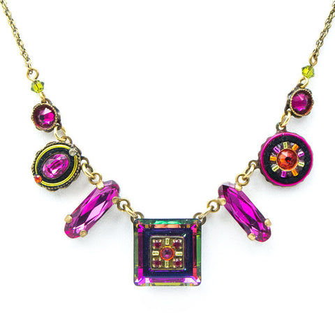 Ruby La Dolce Vita Mosaic Crystal Necklace by Firefly Jewelry