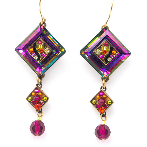 Ruby La Dolce Vita Crystal Diagonal with Dangle Earrings by Firefly Jewelry
