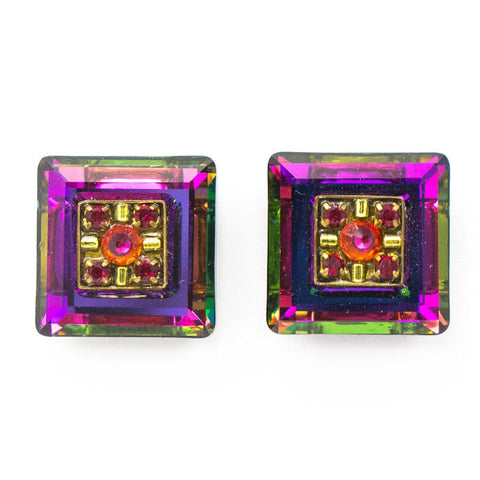 Ruby La Dolce Vita Crystal Square Post Earrings by Firefly Jewelry