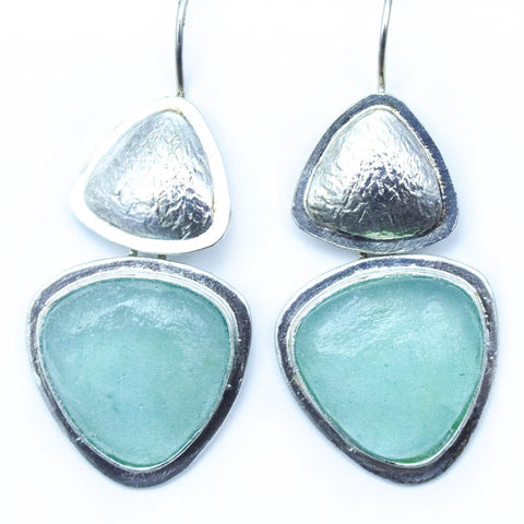 Abstract Triangle Washed Roman Glass Earrings