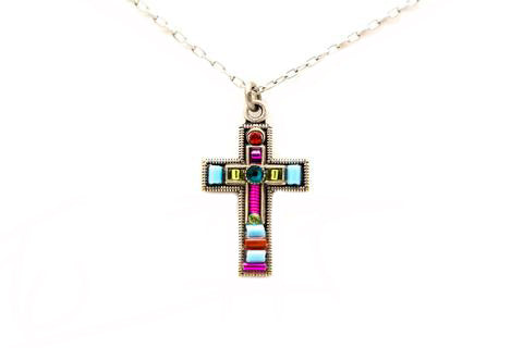 Multicolor Petite Cross Necklace by Firefly Jewelry