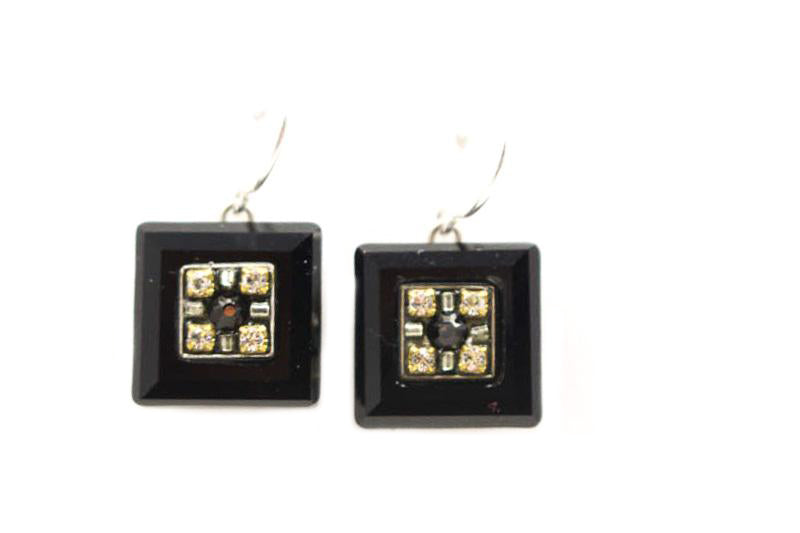 Black and White La Dolce Vita Crystal Square Earrings by Firefly Jewelry