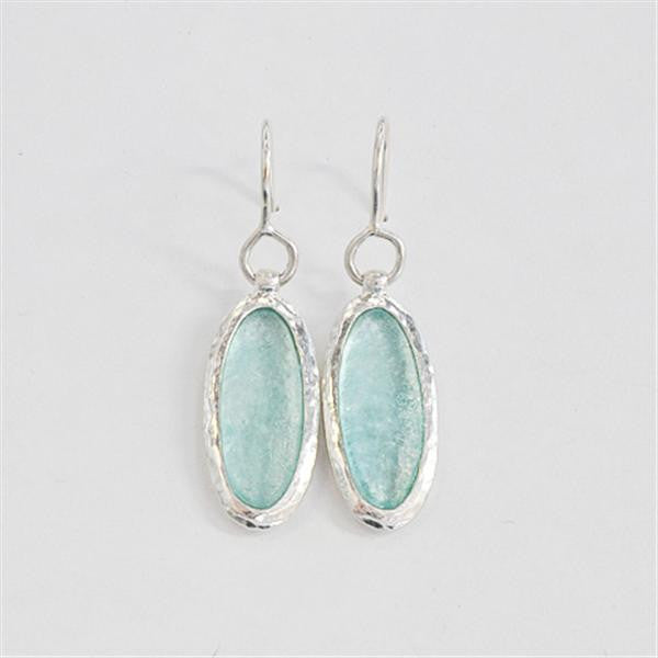 Elongated Oval Washed Roman Glass Earrings