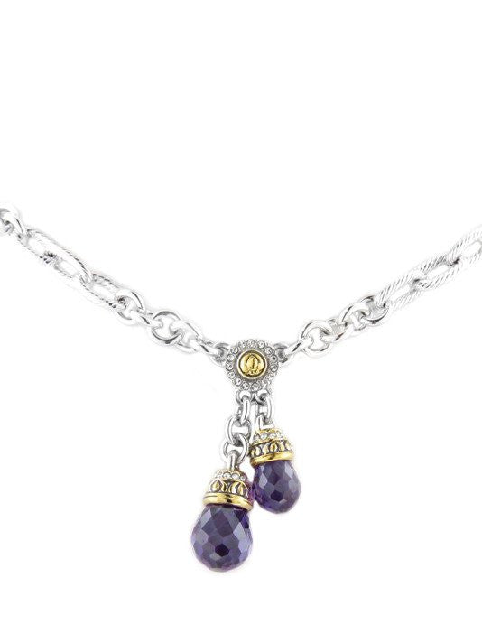 Briolette Amethyst Double Drop Necklace by John Medeiros