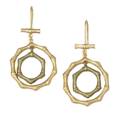 Bamboo Double Circle Wire Earrings by Michael Michaud