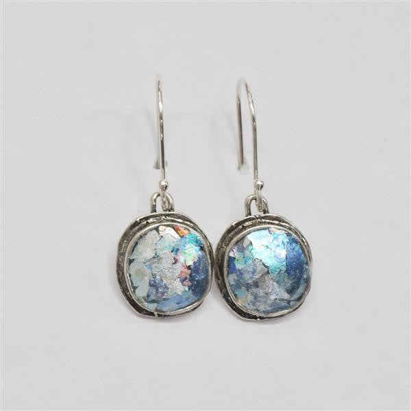Simple Orbit Framed Round Patina Roman Glass Earrings