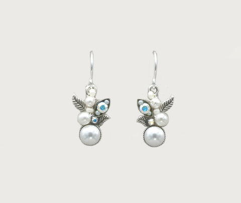 White Pearl Flora Glass Pearls Earrings by Firefly Jewelry