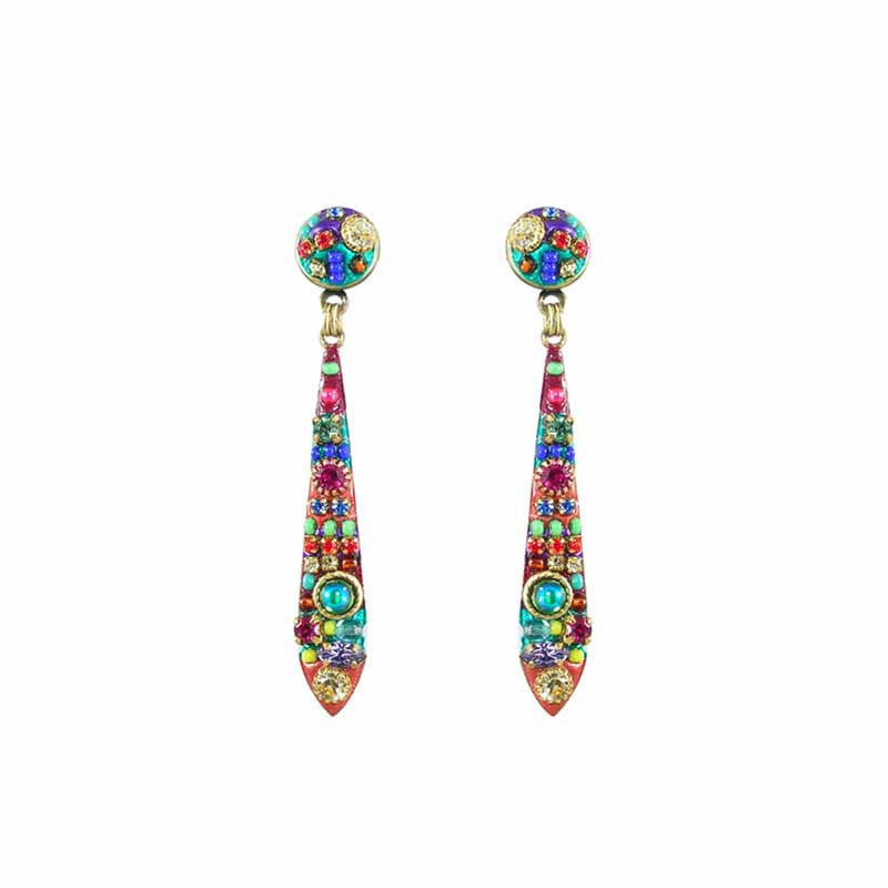 Multi Bright Two Part Design Long Dangle Earrings by Michal Golan