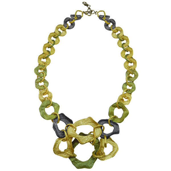 Curly Pod Gold and Patina 16 Inch Adjustable Contour Necklace