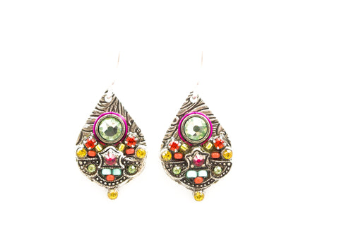 Chrysolite Mosaic Detailed Drop Earrings by Firefly Jewelry