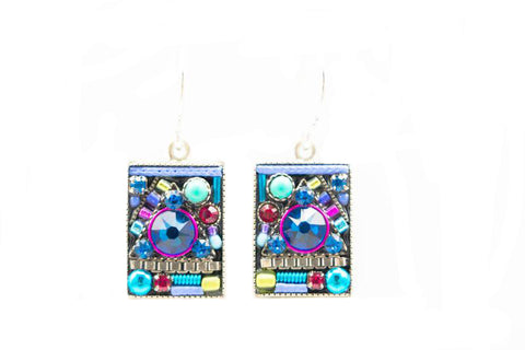 Bermuda Blue Geometric Large Square Earrings by Firefly Jewelry