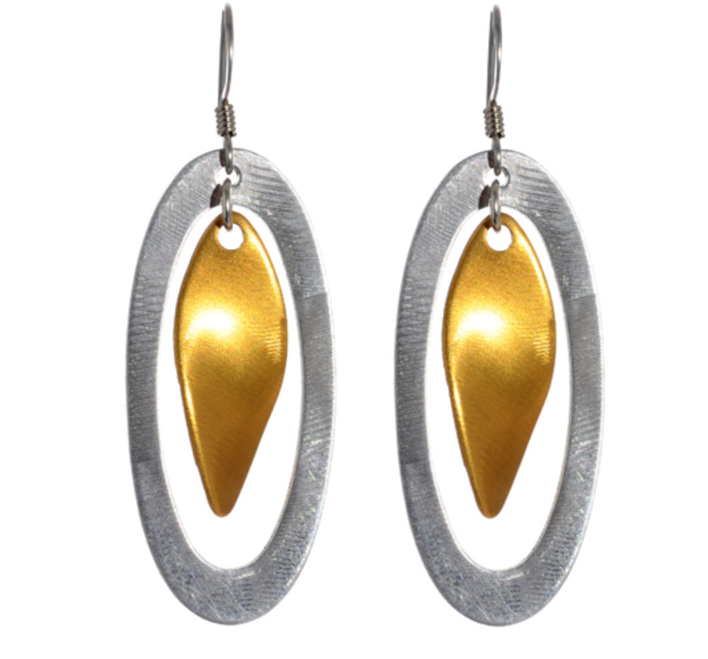 Mix Metal Oval with Twist Drop Earrings