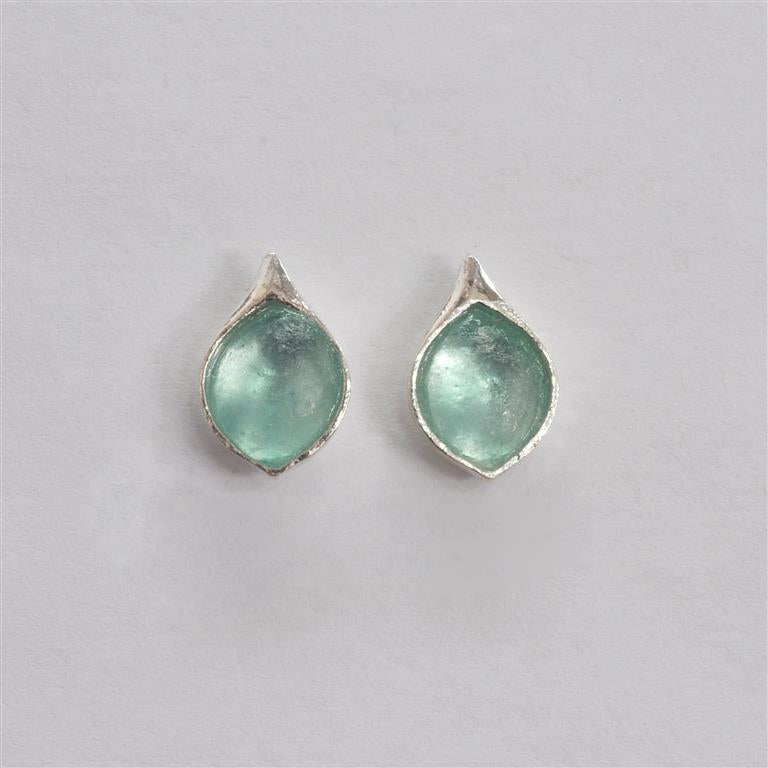 Tear Shaped Post Washed Roman Glass Earrings