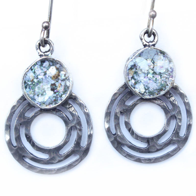 Labrynth Circle Roman Glass Earrings