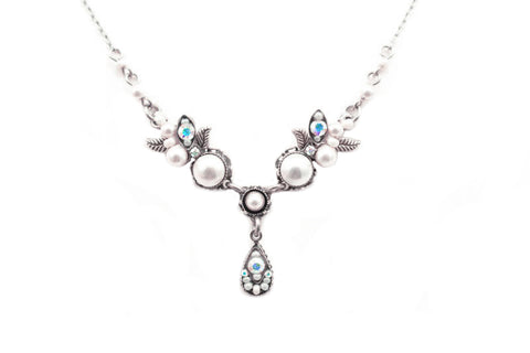 White Pearls Flora V Petite with Drop Necklace by Firefly Jewelry