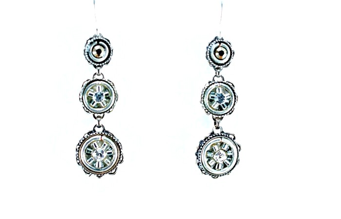 Silver La Dolce Vita 3-Tier Earrings by Firefly Jewelry