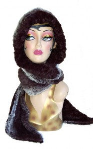 Chinchilla in Black with Cuddly Black Luxury Faux Fur Hoody Scarf