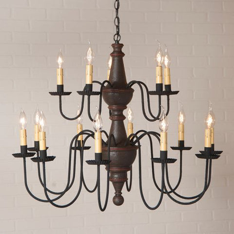 Gettysburg Chandelier in Espresso with Red Stripe
