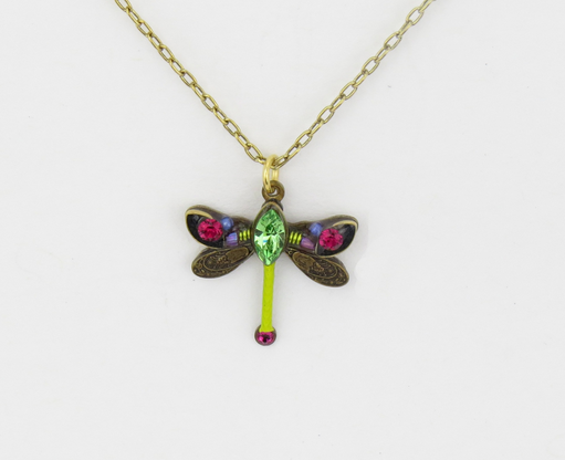 Olivine Petite Dragonfly Pendant Necklace by Firefly Jewelry