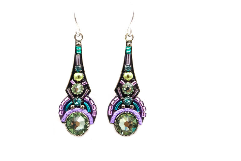 Chrysolite Art Deco Drop Earrings by Firefly Jewelry