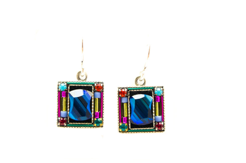 Multi Color Mirrored Square Earrings by Firefly Jewelry
