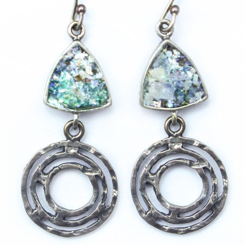 Labrynth Triangle Roman Glass Earrings