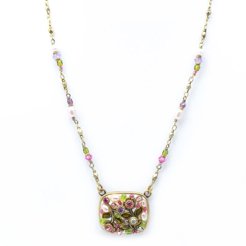 White Flower Square Pendant Beaded Chain Necklace by Michal Golan