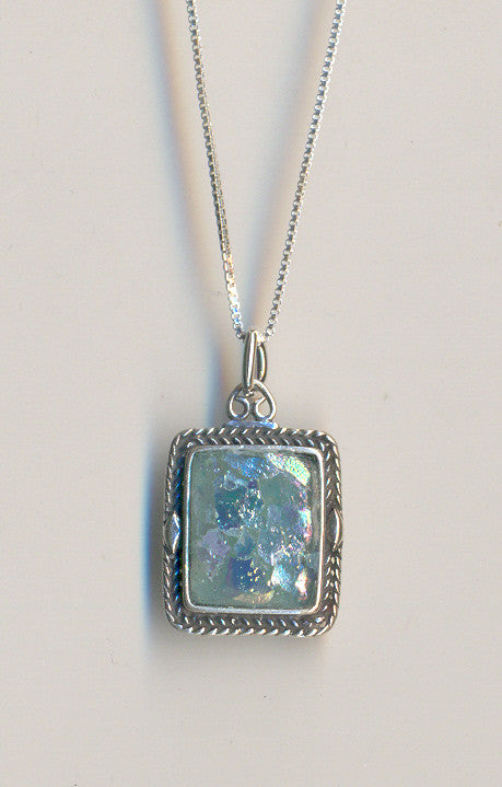 Braided Edge Rectangle Patina Roman Glass Necklace