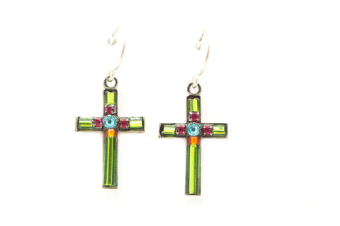 Lime Small Simple Cross Earrings by Firefly Jewelry