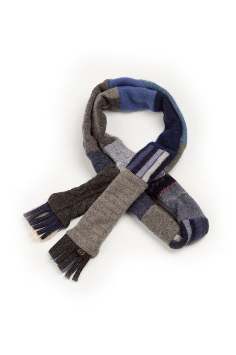 Wool Skinny Scarf in Denim