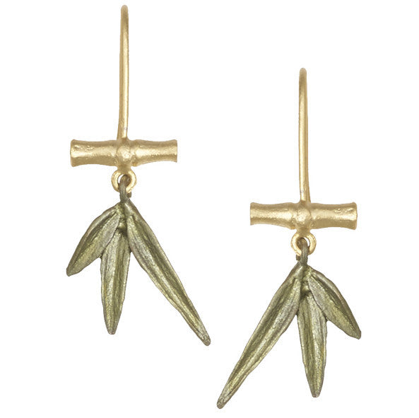 Bamboo Small Branch with Leaf Earrings by Michael Michaud