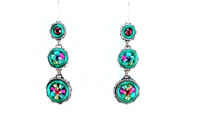 Multi Color La Dolce Vita 3-Tier Earrings by Firefly Jewelry