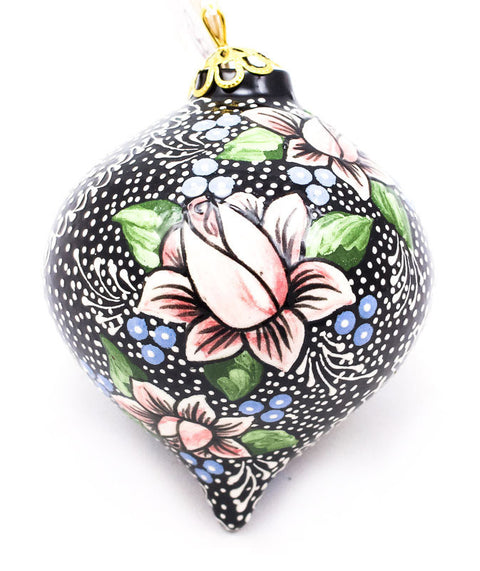 Budding Brilliance Tear Drop Ceramic Ornament