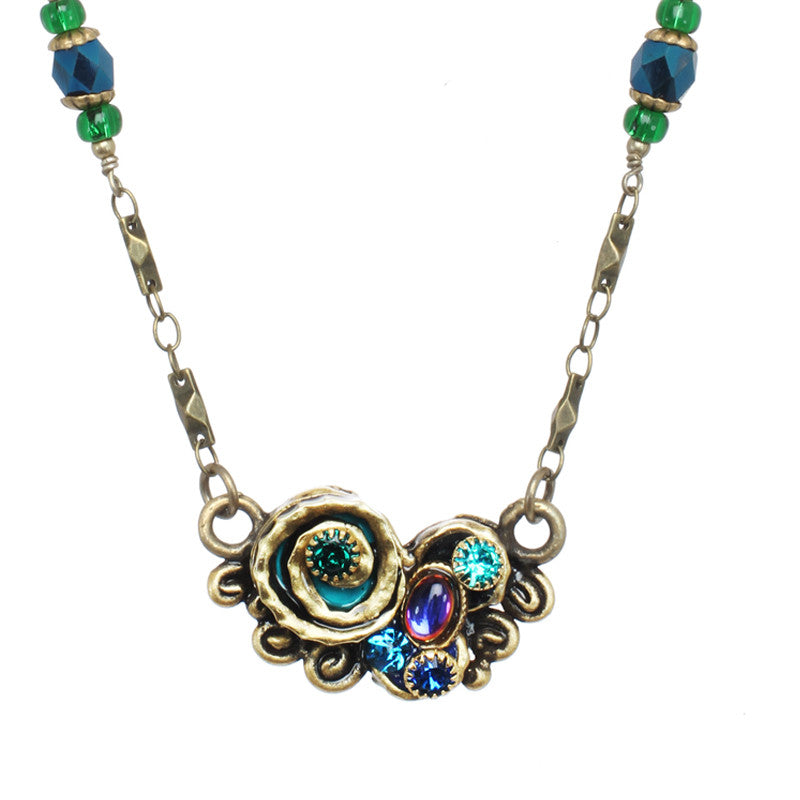 Emerald Swirl Part Beaded Chain Necklace by Michal Golan