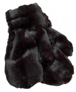 Minky in Black Luxury Faux Fur Mittens