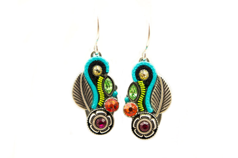 Multi Color Botanic Leaf Earrings by Firefly Jewelry