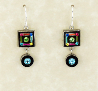 Multi Color Square with Circle Earrings by Firefly Jewelry