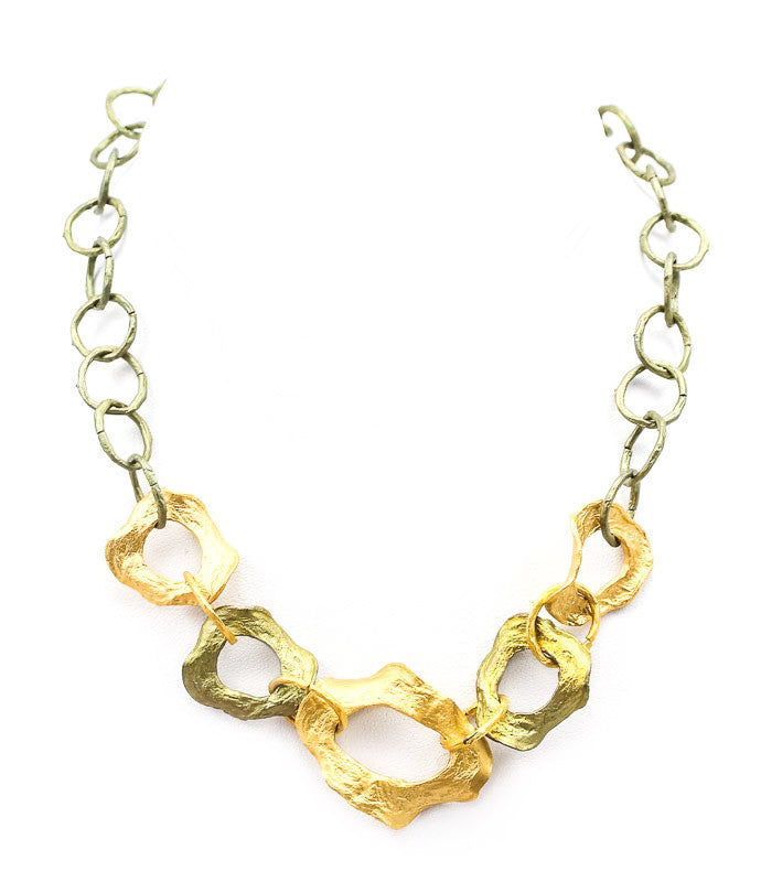 Curly Pod Patina 16 Inch Necklace