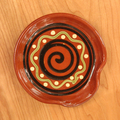 Redware Spoon Rest with Black Swirl and Polka Dots