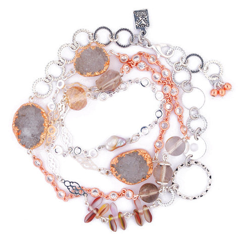 Rose Gold Wrapped with Druzy Quartz Multi Wrap Bracelet (Or Necklace!) by Desert Heart