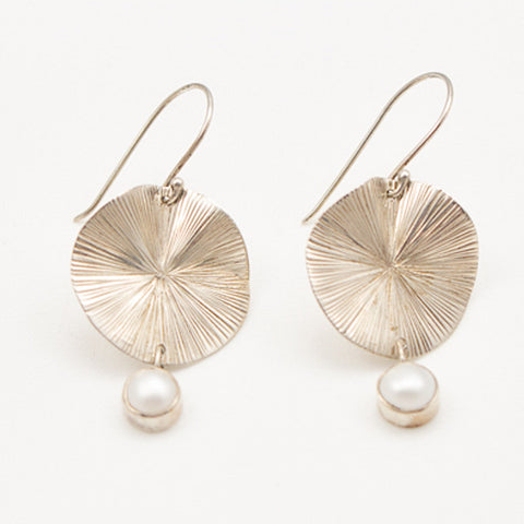 Sterling Silver Lily Pad with Pearl Drop Earrings