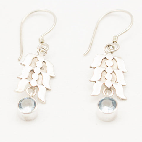 Sterling Silver Flora Nouveau Silver Dangle with Blue Topaz Earrings