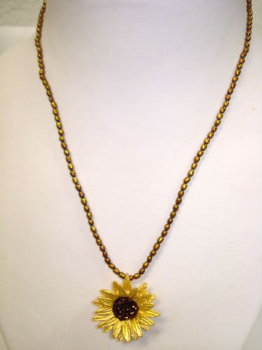 Sunflower 16'' Adjustable Pendant Necklace